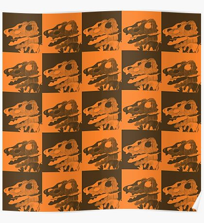 Dino Brown and Orange Poster
