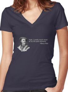 Yeah, I pretty much never sit by the pool anymore Women's Fitted V-Neck T-Shirt