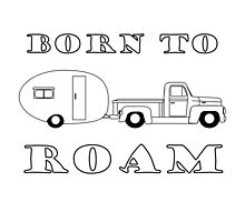 Born to Roam- 1952 International Pickup & Canned Ham in Black by Ginger Young
