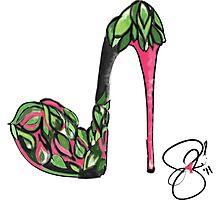 Go Green and Pink High Heel Art Illustration Photographic Print