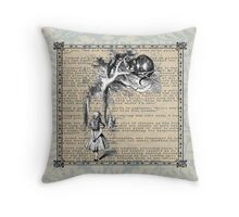 Alice and Cat Print  Throw Pillow