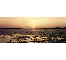 Sunsetting on the Icy Niagara River  Photographic Print
