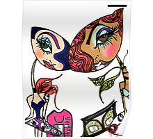 Graffiti Dolls Peaches & Mona Harajuku Illustration  Poster