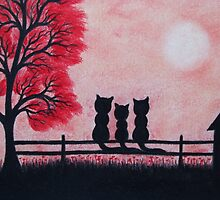 Cats Silhouettes with Red Tree, Flowers, House and Moon by Claudine Peronne