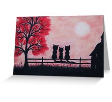 Cats Silhouettes with Red Tree, Flowers, House and Moon Greeting Card