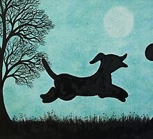 Dog and Ball Silhouette with Tree and Moon by Claudine Peronne