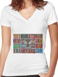 mediterranean doors and windows Women's Fitted V-Neck T-Shirt