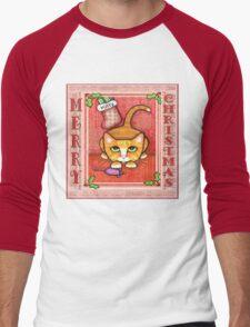 Merry Christmas Cat T-Shirt Men's Baseball ¾ T-Shirt
