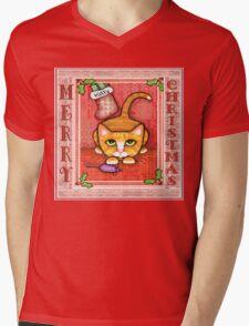 Merry Christmas Cat T-Shirt Mens V-Neck T-Shirt
