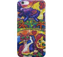 Cocky Rooster And Cat Romance iPhone Case/Skin