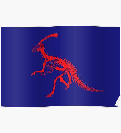 Dino Blue and Red Poster