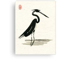 heron on rice paper Canvas Print