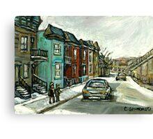 HISTORICAL VERDUN STREET RUE MAY VANISHING MONTREAL Canvas Print