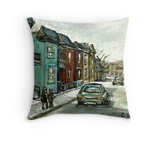 HISTORICAL VERDUN STREET RUE MAY VANISHING MONTREAL Throw Pillow
