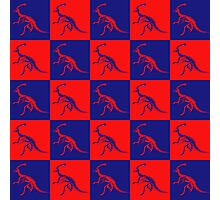 Dino Red Blue Photographic Print