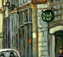 OLD MONTREAL STREET SCENE WINTER PAINTING Sticker