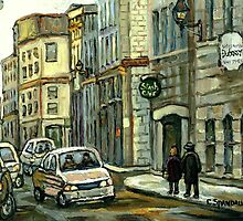 OLD MONTREAL STREET SCENE WINTER PAINTING by Carole  Spandau