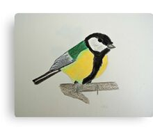 Great Tit Coloured Pencil Drawing Canvas Print