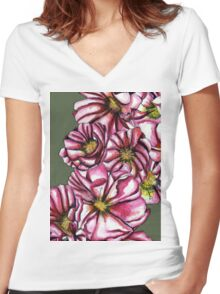 Almond tree flowers Women's Fitted V-Neck T-Shirt
