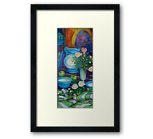 still-life with apples and roses Framed Print