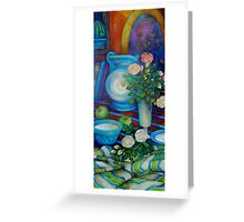 still-life with apples and roses Greeting Card