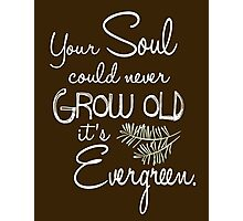 Your Soul could never Grow Old it's Evergreen. Photographic Print