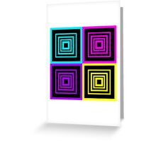 Square Retro Pattern Design Lime Pink Purple Aqua and Black  Greeting Card