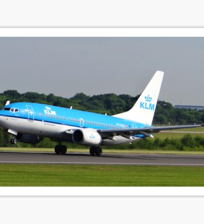KLM 737 Departing Manchester Airport Sticker