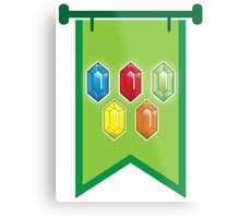 BANNER CREST SIGIL Green with 5 jewels rupees Blue, red, green and orange Metal Print