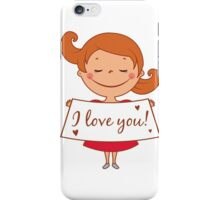 cute girl confesses his love iPhone Case/Skin