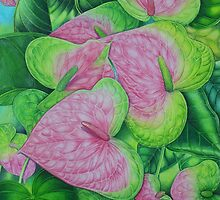 Obake Anthurium Watercolor by joeyartist