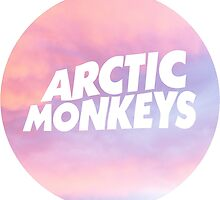 arctic monkeys pink clouds circle logo by Lily Wilkinson