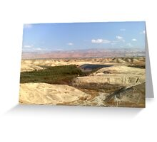 Jordan river in front of Moav mountains. Greeting Card