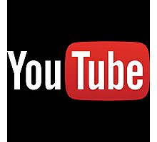 YouTube Full Logo - Red on Black Photographic Print