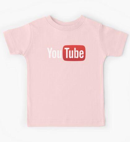 YouTube Full Logo - Red on Black Kids Tee