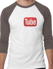 YouTube Full Logo - Red on Black Men's Baseball ¾ T-Shirt