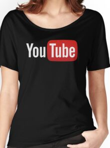 YouTube Full Logo - Red on Black Women's Relaxed Fit T-Shirt
