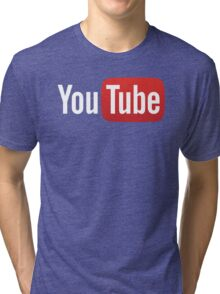 YouTube Full Logo - Red on Black Tri-blend T-Shirt
