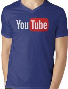 YouTube Full Logo - Red on Black Mens V-Neck T-Shirt