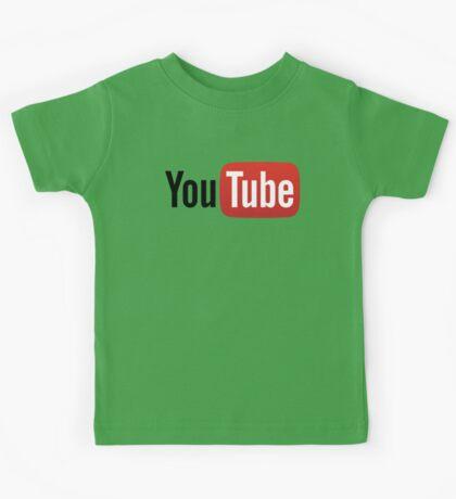 YouTube Full Logo - Red on White Kids Tee