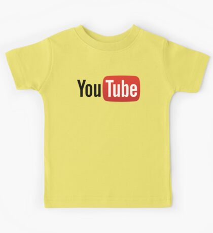 YouTube Full Logo - Red on White Kids Tee