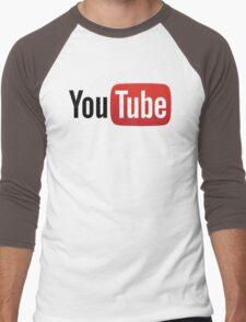 YouTube Full Logo - Red on White Men's Baseball ¾ T-Shirt