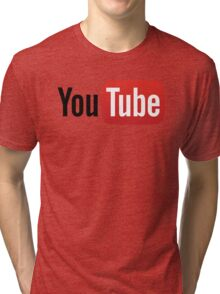 YouTube Full Logo - Red on White Tri-blend T-Shirt