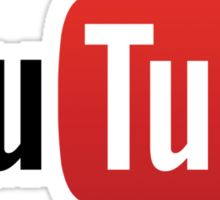 YouTube Full Logo - Red on White Sticker