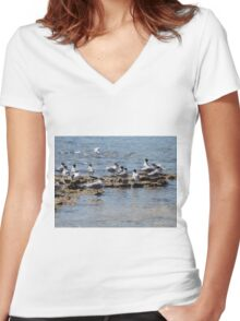 Beach Party Women's Fitted V-Neck T-Shirt