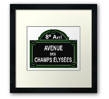 Champs Elysees Road Sign Replica Design Framed Print