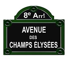 Champs Elysees Road Sign Replica Design Photographic Print