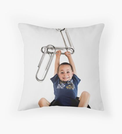 Paper Clip Challenge Throw Pillow