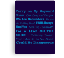 Multi Fandom Anthem Canvas Print