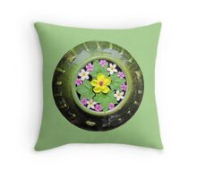 Thailand - Flowers floating in a green pot Throw Pillow